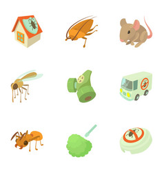 Insect extermination icons set cartoon style vector