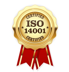 ISO 14001 certified - quality standard golden seal vector image