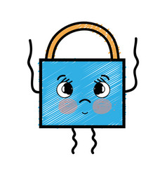 Kawaii cute tender padlock security vector