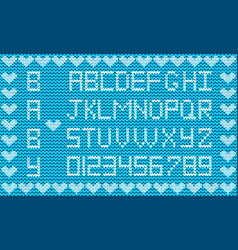 knitted abc alphabet knitting pattern boy light vector image