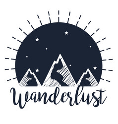 Label snowy mountains with stars to wanderlust vector