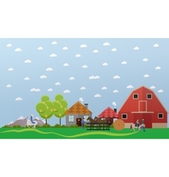 Large horse farm banner in flat design vector image