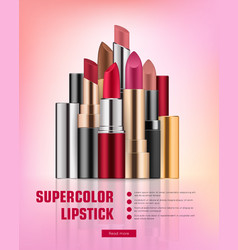 Lipstick collection on vivid background vector