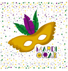 mardi gras poster with yellow carnival mask with vector image