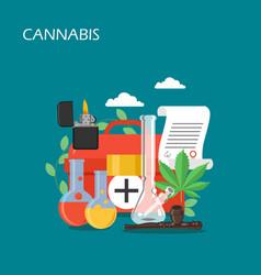 medical cannabis set flat style design vector image