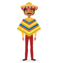 mexican man cartoon flat in national costume vector image