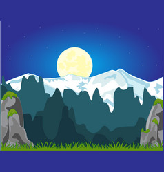 moon night and mountains vector image