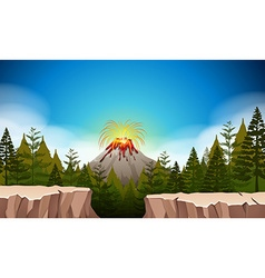 Nature scene with volcano eruption vector image
