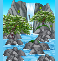 Nature scene with waterfall and river vector