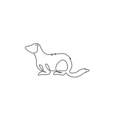One continuous line drawing adorable ferret vector