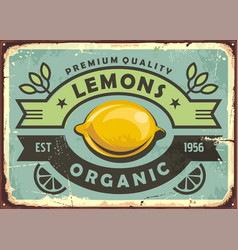 premium quality organic lemons vintage sign vector image