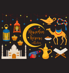 ramadan kareem flat icon set cartoon style vector image