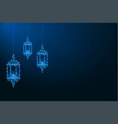 ramadan kareem made polygonal wireframe mesh vector image