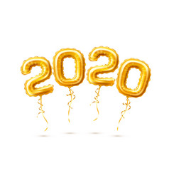 Realistic 2020 golden air balloons new year vector