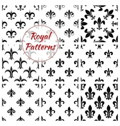 Royal lily flower fleur-de-lis floral patterns set vector