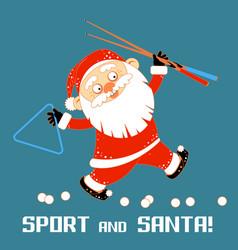santa claus playing sports games billiard vector image