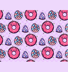 seamless texture with cute kawai donut and candy vector image