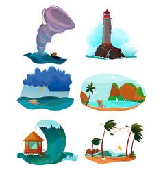 seaside landscapes set vector image