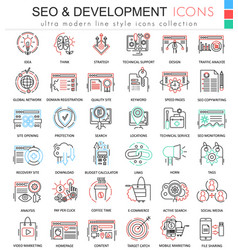SEO and development ultra modern color vector image