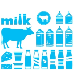 Set icons of milk vector image vector image