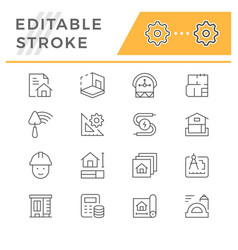 Set line icons architectural vector