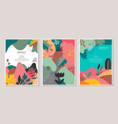 set modern artistic posters with hand vector image