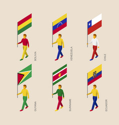 Set of 3d people with flags of south america vector