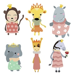 Set of princess animals vector