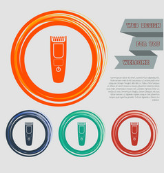 Shaver hairclipper icon on the red blue green vector
