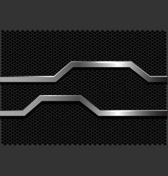 silver line polygon banner dark grey hexagon mesh vector image