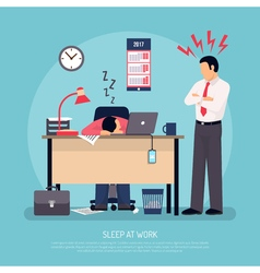 Sleeping at work flat poster vector
