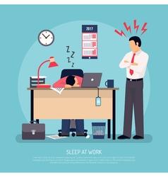 Sleeping At Work Flat Poster vector