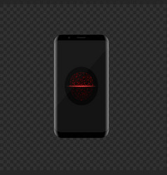 smartphone with red face scan icon vector image