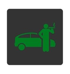 Smoking taxi driver icon vector