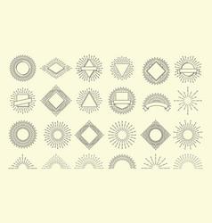 Sunburst set vintage burst radial emblem sunrise vector