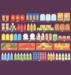 Supermarket shelves with food products grocery vector