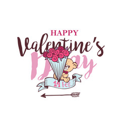 valentines day lettering card with ice cream in vector image