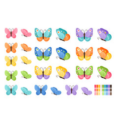 Watercolor butterflies icons vector