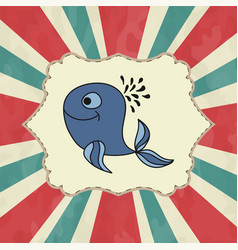 Whales are cute awesome on marine vector