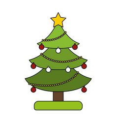White background with decorated christmas tree vector