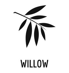 Willow leaf icon simple black style vector
