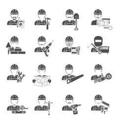 Worker Icons Black Set vector