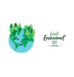 world environment day card happy green earth vector image