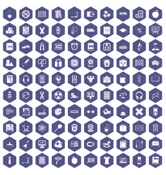 100 learning kids icons hexagon purple vector image vector image