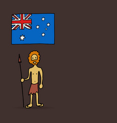 australian aborigine and flag vector image