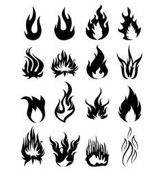Fire silhouette icons set vector image