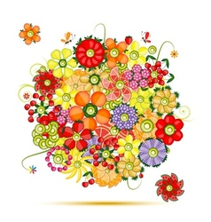 Floral bouquet Flowers made from fruits vector image vector image