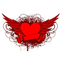 heart and wings and patterns vector image vector image