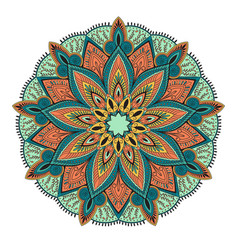 Ornament color card with mandala vintage vector