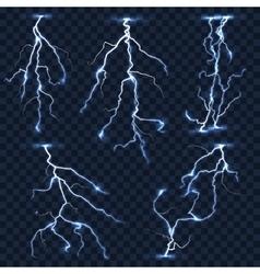 Realistic lightnings set on plaid vector image vector image